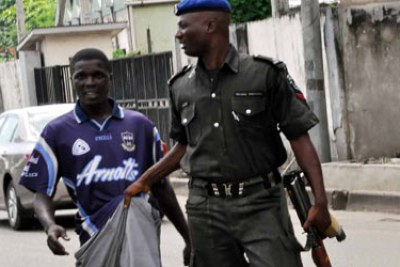 An okada rider arrested by Fashola's security aide for riding against traffic.