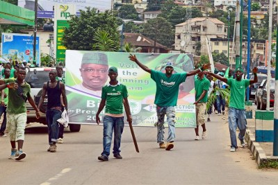 Youths campaign in Freetown.