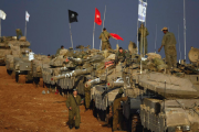 Scores of Israeli army tanks near Israel's border with the Gaza Strip (file photo).