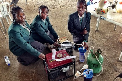 Four teenage girls have revealed one of the more unexpected products at Maker Faire Africa this year in Lagos - a urine-powered generator.