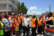The Dar es Salaam Port Operations Manager Patrick Namahuta briefs ambassadors, Heads of EU Missions and business representatives during a tour of the port (file photo).