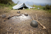 A camp set up by the Congolese national army along the Goma- Rutshuru road in the Democratic Republic of the Congo's North Kivu province.