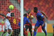 Fernando Varela of Cape Verde scores with a header, helping his team make history by qualifying for the Africa Cup of Nations quarter-finals in their first Africa Cup of Nations finals.