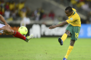 May Mahlangu of South Africa scores one of the goals which took the host team through to the quarter-finals of the Africa Cup of Nations.