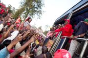 Presidential aspirant Uhuru Kenyatta addresses supporters at the Jubilee Coalition rally in Nairobi.