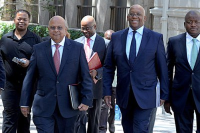 South Africa's Finance Minister Pravin Gordhan (left) ahead of the 2013 budget speech.
