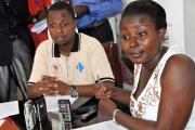 ANPPCAN research coordinator Ruth Birungi and Information officer Maron Agaba at a news conference.