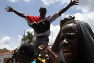 Demonstrations broke out in Homa Bay town following the Supreme Court ruling which declared Uhuru Kenyatta the President-elect.