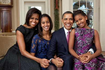 President Barack Obama, First Lady Michelle Obama, and their daughters, Malia, left, and Sasha, right.