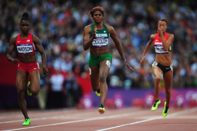 Blessing Okagbare, middle (file photo).