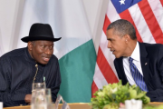 President Goodluck Jonathan discusses with US President Barack Obama (file photo).