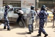 Confrontation between police and protesters in Khartoum.