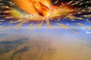 An artist's rendition of an ancient comet exploding in Earth's atmosphere above Egypt.
