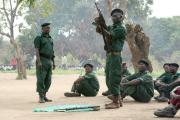 Renamo soldiers at training in the bush (file photo).