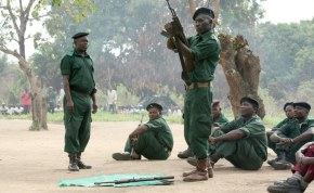 Renamo soldiers at training in the bush