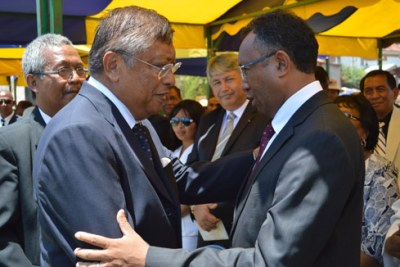 Hery Martial Rokotoarimanana Rajaonarimampianina, right, and Richard Jean-Louis Robinson, the two candidates in the second round of the presidential elections. Both candidates have promised to work on national reconciliation if elected.