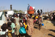 Civilians displaced by fighting in South Sudan at a United Nations facility in Juba (file photo)