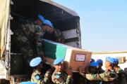 The bodies of two UN peacekeepers killed in action (file photo).