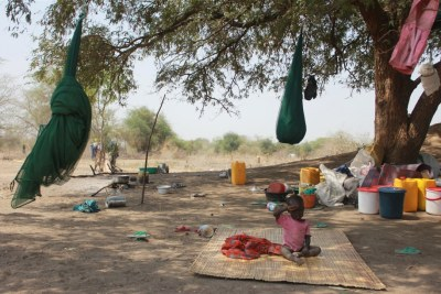 Displacement camp in Minkaman, Awerial County, South Sudan