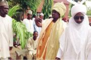 The New Emir of Kano, Sanusi Lamido Sanusi, right, and others during his arrival at the Emirate of Kano.