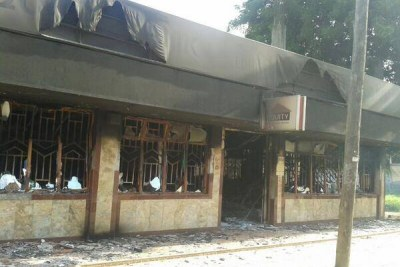 Mpeketoni Equity bank branch after it was torched by suspected Al Shabaab terrorists. (file photo)