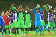 Nigeria's players celebrate their victory, 16 years after last winning a World Cup encounter.