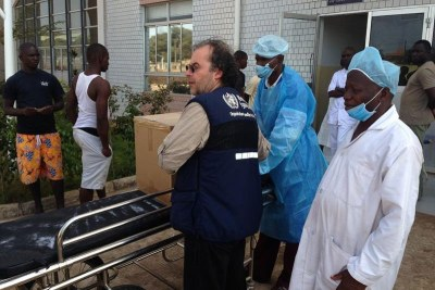 The World Health Organization provides protective gear to a hospital in Conakry.