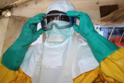 A doctor prepares to treat patients diagnosed with Ebola.