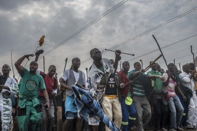 Miners gather to commemorate the second anniversary of the Marikana shooting (file photo).