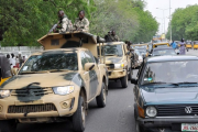Nigerian soldiers on patrol in Maiduguri (file photo).