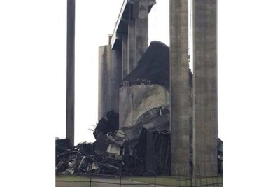 One of the coal silos at the Majuba Power Station in Mpumalanga, which has collapsed. Eskom had originally said a silo was