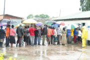 Voters line in Zambia's presidential election.