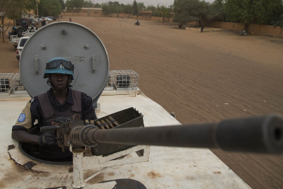 A joint United Nations/Mali government police patrol in the city of Gao.