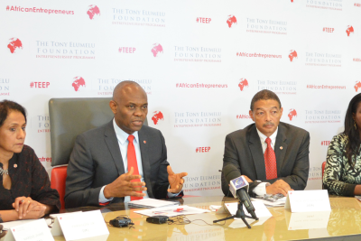 L-R: Director, Tony Elumelu Entrepreneurship Programme (TEEP), Parminder Vir; Founder, Tony Elumelu Foundation, Tony O. Elumelu; CEO, Tony Elumelu Foundation, Reid Whitlock; and CEO and Founder of Java Foods, Zambia and Member Selection Committee TEEP, Monica Musonda during the official announcement of the selection of the first 1,000 African entrepreneurs for the Tony Elumelu Entrepreneurship Programme (TEEP) in Lagos yesterday.
