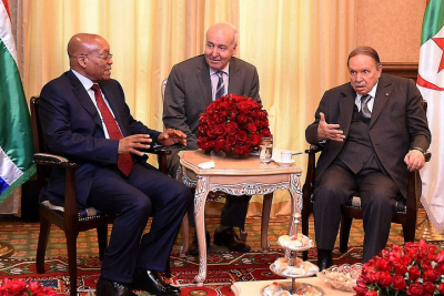 President Jacob Zuma with President Abdelaziz Bouteflika of the People's Democratic Republic of Algeria at the official meeting during the State Visit in Algeria.