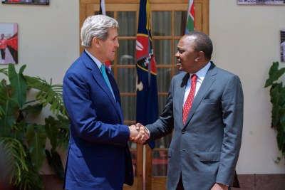 U.S. Secretary of State John Kerry shakes hands with Kenyan President Uhuru Kenyatta in Nairobi, Kenya on May 4, 2015.