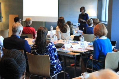 Wellbeing Foundation Africa founder Toyin Saraki chairs a session at an International Confederation of Midwives (ICM) conference in The Hague, where she gave the opening talk.