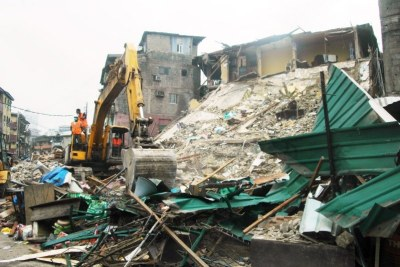 3-storey building collapses in Lagos.