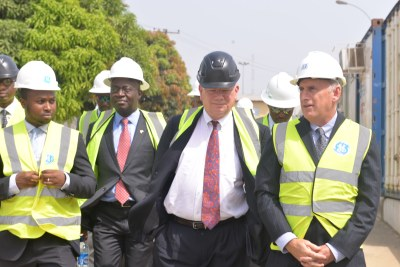 (L-R) The Chief Operating Officer for GE Nigeria Mr Ahmad Zakari, President and CEO of GE Nigeria Dr Lazarus Angbazo, the U.S Ambassador to Nigeria Ambassador James Entwistle and General Manager Supply Chain GE Africa Mr Jeffery Sommer – at the site of the GE Manufacturing and Assembly facility in Calabar.