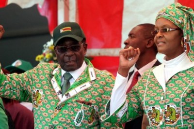 Zimbabwe's President Robert Mugabe and the First Lady Grace Mugabe.