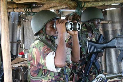 Kenyan troops during an operation in Somalia (file photo).