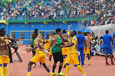 Rwanda players celebrating during the ongoing 2016 CHAN.