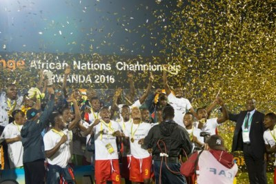 DR Congo's Leopards celebrating winning CHAN 2016  trophy in Rwanda.