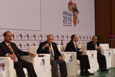 Egyptian officials brief journalists at a conference in Sharm el-Sheikh, Egypt. (file photo)