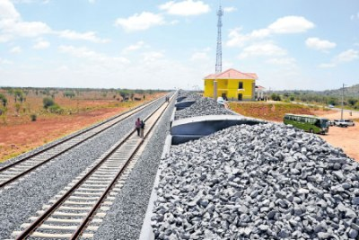 A section of the standard gauge railway at Simba Station in Makueni County.
