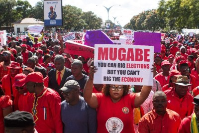 MDC-T supporters protest against President Robert Mugabe.
