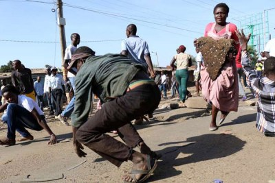 Cord supporters during anti-IEBC demos in Kisumu.