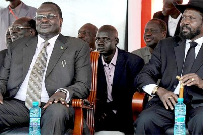 South Sudan Vice President Dr Riek Machar (left) and President Salva Kiir (file photo).