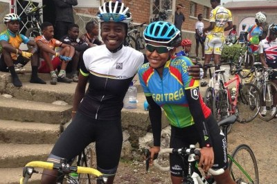 Jeanne d'arc and Mosana Debesay from Eritrea at the Musanze-based Africa Rising Cycling Center.