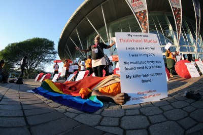Activists for sex workers protesting outside the Durban ICC on the morning of the International AIDS Conference.